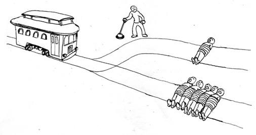 Il paradosso del treno: ucciderne uno per salvarne cinque; rapporto tra legalità e moralità